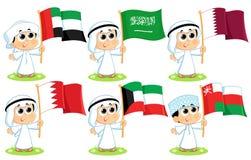 Gulfstaternas samarbetsrådflaggor vektor illustrationer