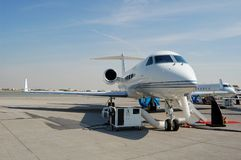 Gulfstream. Business jet on airfield station Royalty Free Stock Photos
