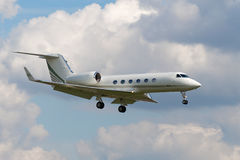Gulfstream G450. VNUKOVO, RUSSIA - SEPTEMBER 21: Aircraft Gulfstream G450, landing in Moscow airport in Vnukovo on September 21, 2012. This airplane model is Stock Photography