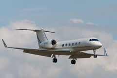 Gulfstream G450. Aircraft Gulfstream G450, landing in Moscow airport in Vnukovo on September 21, 2012. This airplane model is issued more than 17 years Royalty Free Stock Images