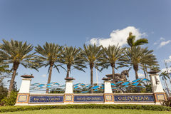 Gulfstream Park in Hallandale Beach, Florida. HALLANDALE BEACH, USA - MAR 11, 2017: Entrance gate to the Gulfstream Park in Hallandale Beach, Florida, United Stock Photo