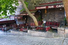 Gulhane sur (wall) cafe. Istanbul stock images