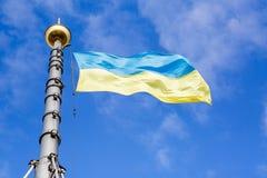 Guling-blått flagga av Ukraina fotografering för bildbyråer