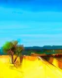 Guling för abstrakt begrepp för olje- målning färgrik och landskap för blå himmel Arkivfoto