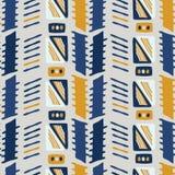 Guling och blått för Memphis Style Geometric Abstract Seamless vektormodell royaltyfri illustrationer