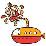 Guling-röd ubåt. Arkivbild