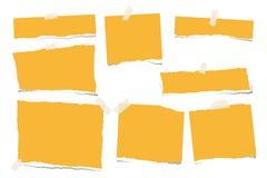 Guling rev sönder den tomma anmärkningen, pappers- remsor för anteckningsbok för text eller meddelandet som klibbades med det kli vektor illustrationer