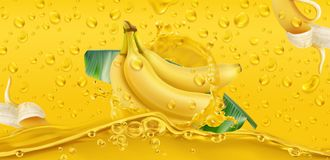 Gulingen tappar tropisk bananfrukt vektor 3d arkivfoton