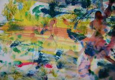 Gulingmålarfärg för blå gräsplan, vitt vax, abstrakt bakgrund för vattenfärg Royaltyfri Foto