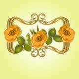 Gulingros med sidor och knoppar i en guld- ram Royaltyfri Fotografi