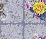 Gulingrosen, blommakörsbäret, buketten, vattenfärg, mönstrar sömlöst Royaltyfria Bilder