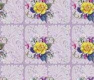 Gulingrosen, blommakörsbäret, buketten, vattenfärg, mönstrar sömlöst Arkivfoto