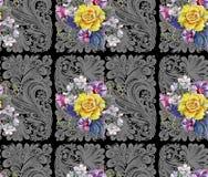 Gulingrosen, blommakörsbäret, buketten, vattenfärg, mönstrar sömlöst Fotografering för Bildbyråer