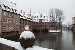 A gull on the bridge with Hospice of the Holy Spirit on background. Pegnitz river canal in winter. Nuremberg. Germany. Stock Photo