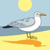 Gull flight bird and seabird gull. Сartoon looking gull. Cartoon illustration. Sun. Beach. Sea. Sea background. Herring Gull for your journal article or stock illustration