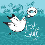 Gull Flying over the Sea. Fat gull dreaming about fish Royalty Free Stock Images