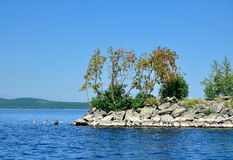 Gull Island on Lake Turgoyak, Southern Urals Royalty Free Stock Photo