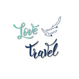 Gull and original handwritten text Love Travel Royalty Free Stock Images