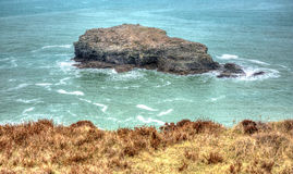 Gull Rock Portreath North Cornwall England UK between St Agnes and Godrevy in HDR Stock Photo