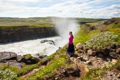 gullfoss冰岛瀑布 库存照片