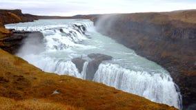 gullfoss καταρράκτες της Ισλαν&de απόθεμα βίντεο