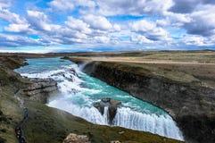 Gullfoss, cachoeira dourada em Islândia Foto de Stock Royalty Free