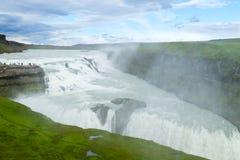 Gullfoss cade nella vista di stagione estiva, Islanda fotografia stock