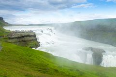 Gullfoss cade nella vista di stagione estiva, Islanda fotografie stock