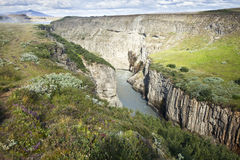 Gullfoss Canion. Gulfoss (Golden Falls) waterfall is located in the canyon of the Hvita river in southwest Iceland. It is one of the most populat tourist Royalty Free Stock Photography