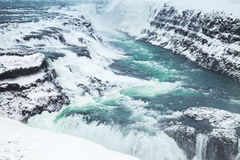 Gullfoss, cascade d'or en hiver photo libre de droits