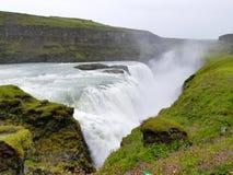 Gullfoss, de beroemde Ijslandse waterval, een deel van Gouden Cir Stock Foto's