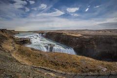 Gullfoss den största vattenfallet av Island Royaltyfria Foton