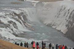 Gullfoss en la estación Islandia del hombro Fotos de archivo