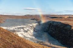 Gullfoss fällt in Island Einer der berühmtesten Fälle in Island Blauer Himmel Lizenzfreie Stockfotografie