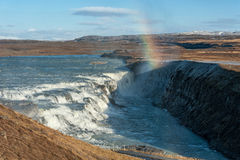 Gullfoss Falls in Iceland. One of the most Famous Falls in Iceland. Rainbow Stock Image