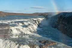 Gullfoss Falls in Iceland. One of the most Famous Falls in Iceland. Rainbow. Stock Images