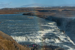 Gullfoss Falls in Iceland. One of the most Famous Falls in Iceland. Rainbow in Foreground Royalty Free Stock Photography