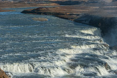 Gullfoss Falls in Iceland. One of the most Famous Falls in Iceland. Rocks Royalty Free Stock Image