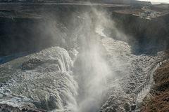 Gullfoss Falls in Iceland. One of the most Famous Falls in Iceland. Snowy Stock Photography