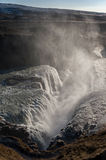 Gullfoss Falls in Iceland. One of the most Famous Falls in Iceland. Water Spray. Stock Photography