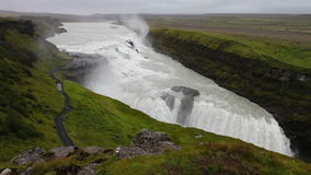 Gullfoss Falls in Iceland. Scenic view of Gullfoss Falls (Golden Falls) in Iceland on overcast day stock video