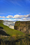 Gullfoss ( The Golden Falls ), Iceland. Gullfoss Falls, Iceland along the Golden Circle in summer. Also known as The Golden Falls, this majestic waterfall is stock photos