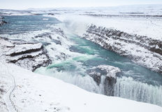 Gullfoss or Golden Waterfall in winter. Iceland Royalty Free Stock Photos