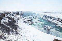 Gullfoss, Golden Waterfall in winter Stock Image