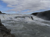 Gullfoss - Golden waterfall popular to visit. Popular with every tousist visiting Iceland Royalty Free Stock Photo