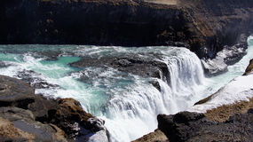 Gullfoss green water in icy waterfall Royalty Free Stock Photos