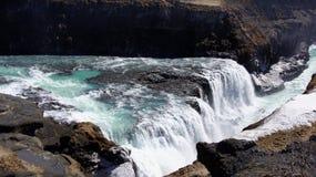 Gullfoss groen water in ijzige waterval Royalty-vrije Stock Foto's