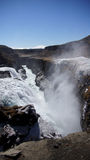 Gullfoss icy waterfall down the gorge Royalty Free Stock Photography