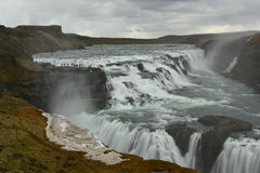 Gullfoss, a 32 metres waterfall in Iceland. Gullfoss, a 32 metres waterfall in the canyon of Hvita river in Iceland Royalty Free Stock Images