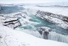Gullfoss o cascata dorata nell'inverno l'islanda Fotografie Stock Libere da Diritti